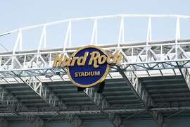A Hard Rock Stadium sign is seen during a tour of Hard Rock Stadium on Tuesday, Jan. 21, 2020, ahead of a NFL Super Bowl LIV football game in Miami Gardens, Fla. (AP Photo/Brynn Anderson)