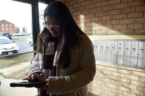 Julia Aviles Zavala conducts census interviews in Hyattsville, Maryland, on Thursday, Jan., 23, 2020.