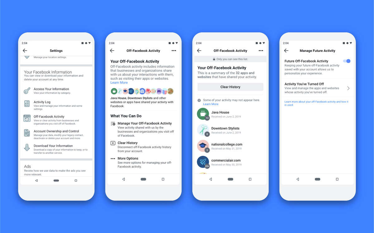 The Off-Facebook Activity tool lets you stop Facebook from connecting activity away from the social network to your account. You can also use it to disconnect data already collected from your account.