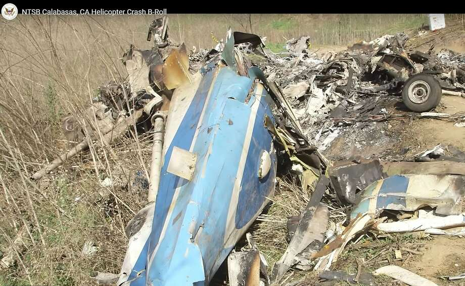 This still image taken from a January 27, 2020,video released by the National Transportation Safety Board (NTSB), shows the remains of a helicopter which crashed near Calabasa, California, on January 26, 2020, killing retired NBA star Kobe Bryant, his daughter, Gianna, and seven others. Photo: Jose Romero, National Transportation Safety B/AFP Via Getty Images