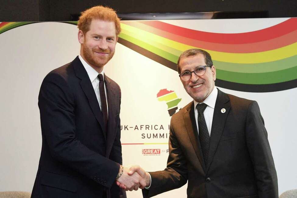 LONDON, UNITED KINGDOM - JANUARY 20: Prince Harry, Duke of Sussex, meets Saadeddine Othmani, Prime Minister of Morocco during the UK-Africa Investment Summit at the Intercontinental Hotel on January 20, 2020 in London, England. (Photo by Stefan Rousseau - WPA Pool/Getty Images)