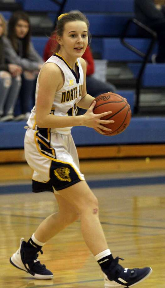 The North Huron girls basketball team secured a 43-40 win over Caseville at home on Tuesday, Jan 28. Photo: Eric Rutter/Huron Daily Tribune