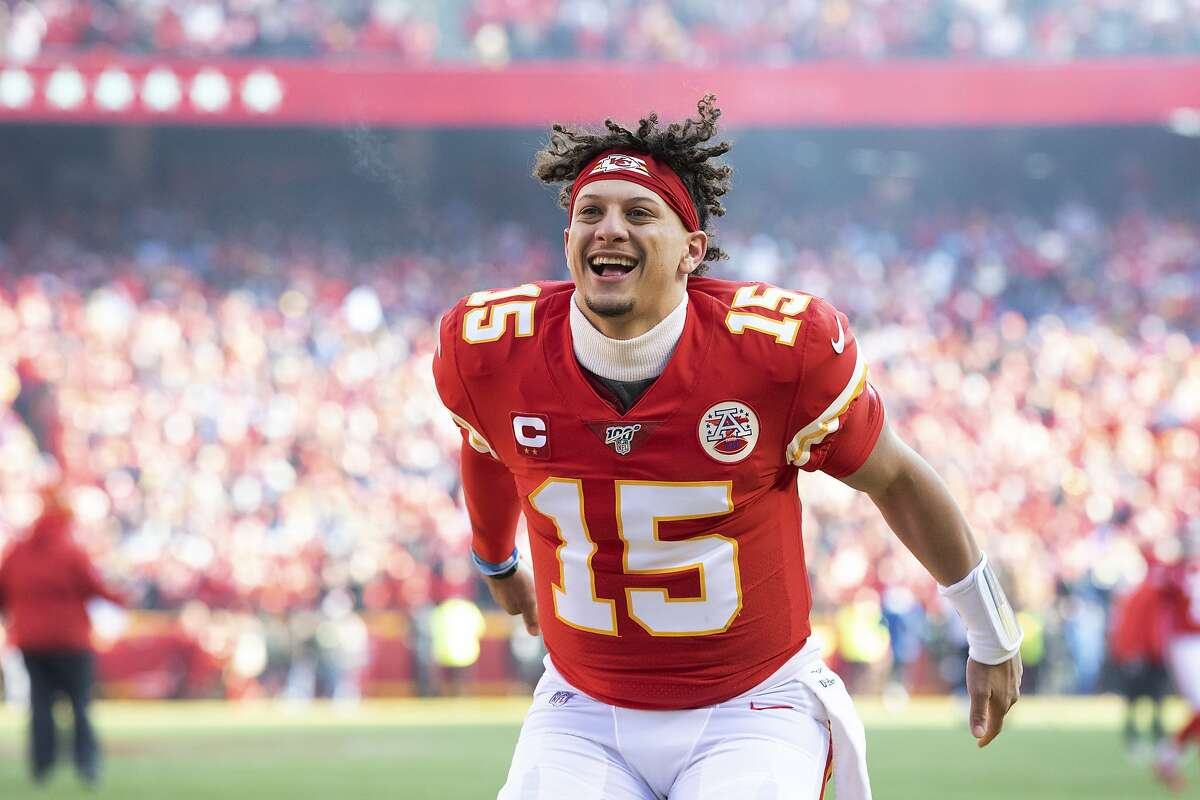 Kansas City Chiefs quarterback Patrick Mahomes fires up the fans before the start of an NFL, AFC Championship football game against the Tennessee Titans, Sunday, Jan. 19, 2020, in Kansas City, MO. The Chiefs won 35-24 to advance to Super Bowl 54. (AP Photo/Colin E. Braley)