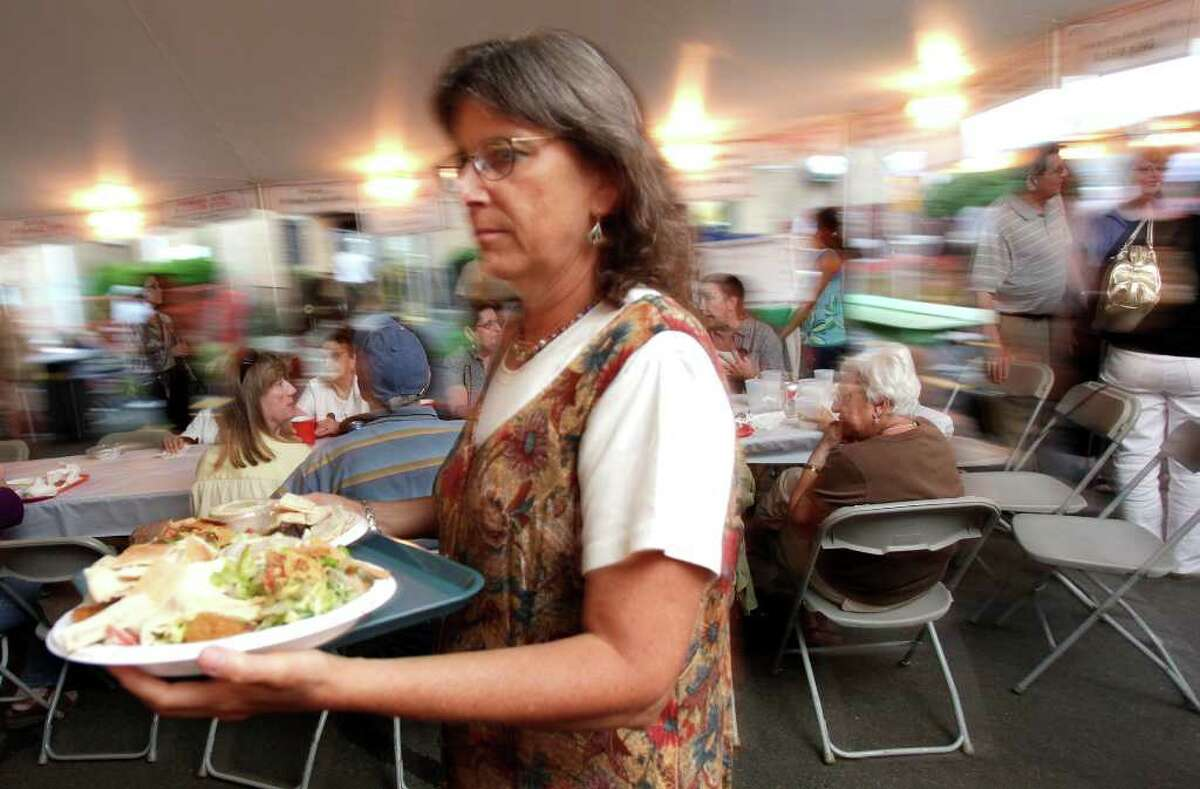 Pat Catchpole, of New Millford, is ready to enjoy her dinner the Lebanese Heritage Festival at St. Anthony Maronite Church in Danbury August 13, 2010.