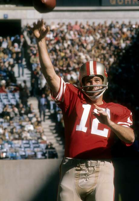 John Brodie of the San Francisco 49ers warms up before a game against the Dallas Cowboys at Kezar Stadium in 1967. Photo: Focus On Sport / Getty Images 1967