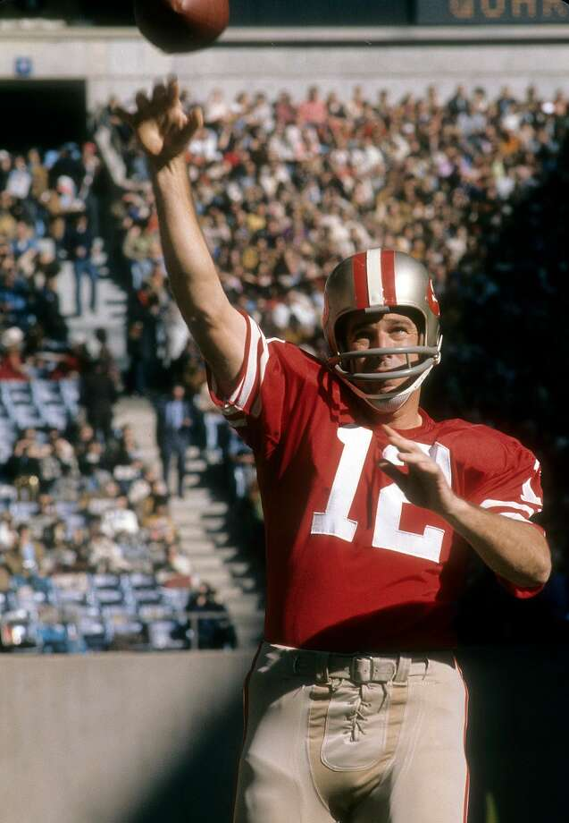 John Brodie #12 of 49ers warms up before a game against the Dallas Cowboys at Kezar Stadium on December 16, 1967 in San Francisco. Photo: Focus On Sport, Getty Images