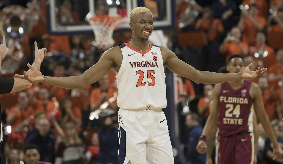 Virginia forward Mamadi Diakite reacts late in the team's win over Florida State in an NCAA college basketball game in Charlottesville, Va., Tuesday, Jan. 28, 2020. (AP Photo/Lee Luther Jr.)