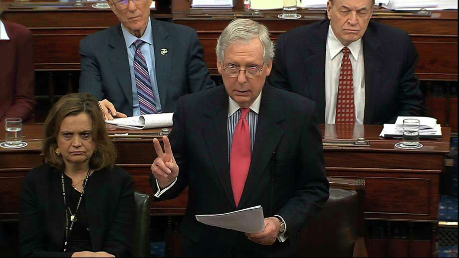 In this image from video, Senate Majority Leader Mitch McConnell, R-Ky., speaks during the impeachment trial against President Donald Trump in the Senate at the U.S. Capitol in Washington, Tuesday, Jan. 28, 2020. (Senate Television via AP) Photo: AP / Copyright 2020 The Associated Press. All rights reserved.