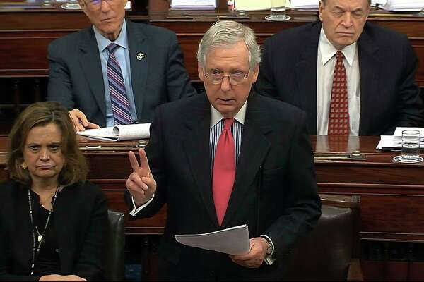In this image from video, Senate Majority Leader Mitch McConnell, R-Ky., speaks during the impeachment trial against President Donald Trump in the Senate at the U.S. Capitol in Washington, Tuesday, Jan. 28, 2020. (Senate Television via AP)