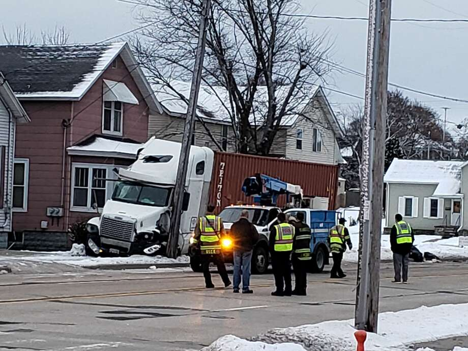 A semitrailer went off the road and into a residential utility pole on Cypress Street Wednesday morning. Photo: Arielle Breen News Advocate