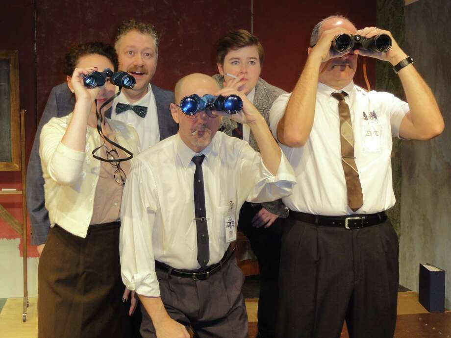 """Mary Sherman Morgan played by Sally Rose Zuckert and her team of engineers, played by Mat Young, Mario Fuentes, Ellie Desautels, and Eric Dino watch a rocket launch. The Town Players of New Canaan recently presented a story called """"Rocket Girl."""" Photo: Contributed Photo"""