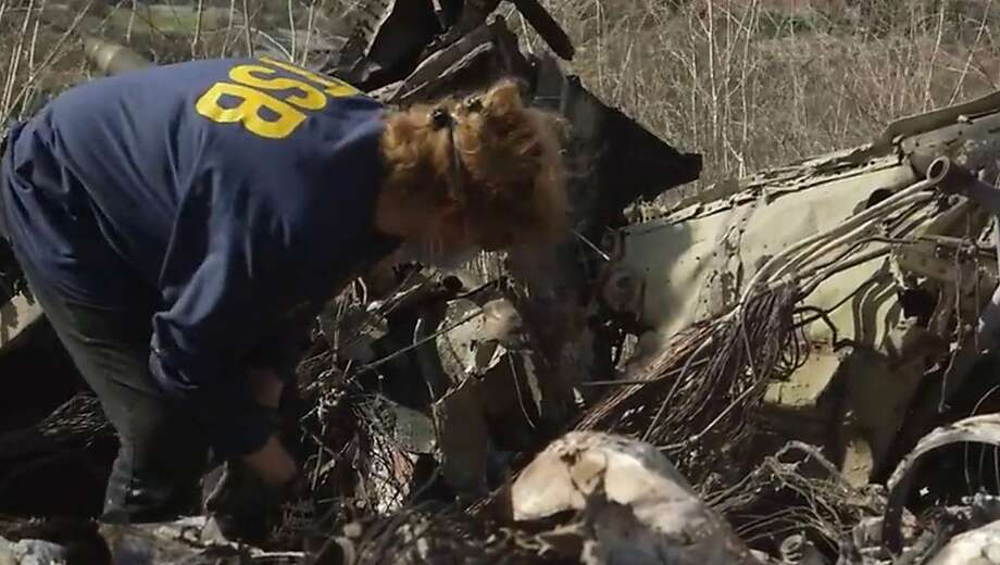 A still photo from NTSB video of the Kobe Bryant crash site in Calabasas, Calif. (Courtesy NTSB/Los Angeles Times/TNS) Photo: Courtesy NTSB, TNS