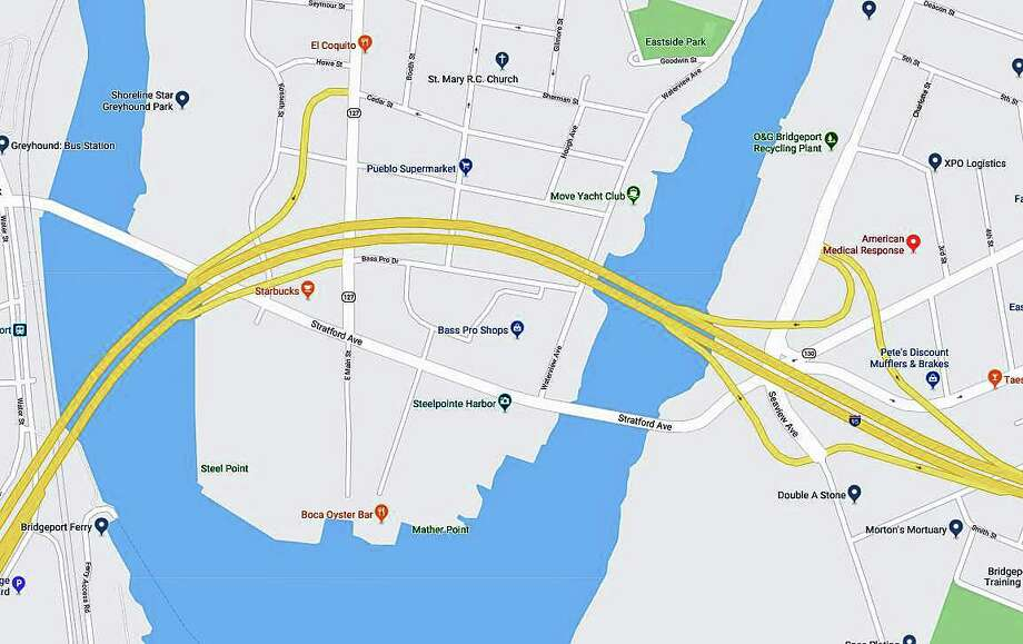 Maintenance work has closed Stratford Avenue Bridge over the Pequonnock River on Wednesday, Jan. 29, 2020. Photo: Google Maps