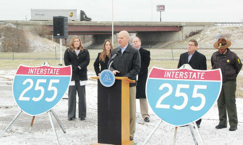 Joel Cumby, IDOT District 8 construction engineer, talks about the upcoming closure of Interstate 255 between I-55/70 and I-64. The interstate will be shut down a total of 10 months for $64 million in rehabilitations and upgrades, diverting about 55,000 vehicles each day. Photo: Scott Cousins | Hearst Illinois