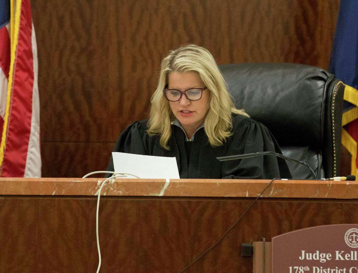 District Judge Kelli Johnson reads the jury's note and declares mistrial in the sentencing phase of David Temple's retrial for murdering his then pregnant wife, Belinda Lucas Temple, at Harris County Criminal Courts building on Friday, Aug. 9, 2019, in downtown Houston. Temple was originally convicted of the 1999 crime during a 2007 trial, but the conviction was overturned by an appeals court nearly 10 years later.