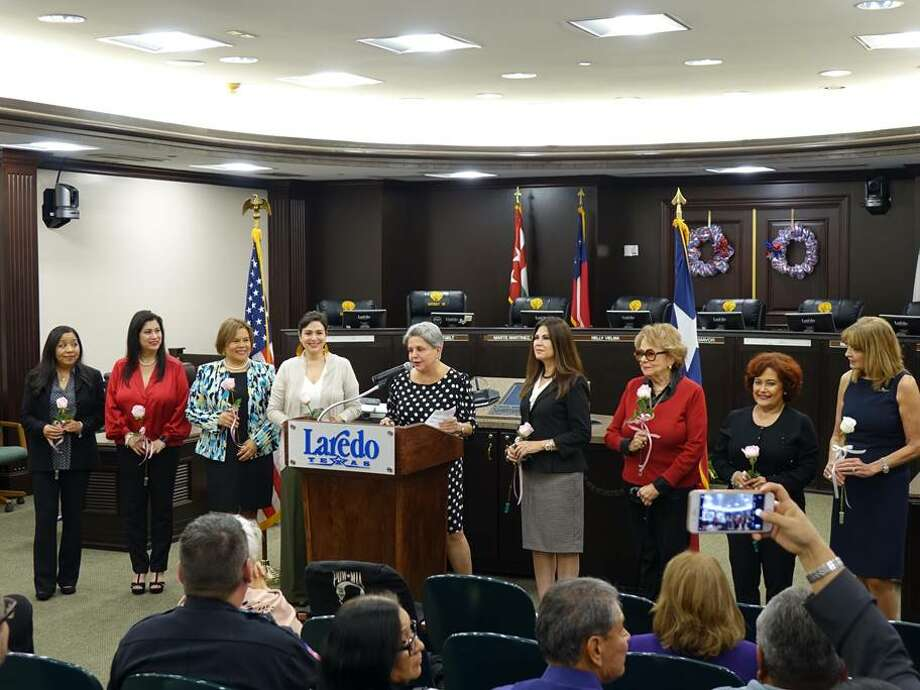 Pictured are the Laredo Commission for Women 2020 Hall of Fame inductees including Patricia Niles (Health Care), Martha Gonzalez Keiser (Civic Leadership/Public Service), Ana Cristina Martinez (Education), Cristina O. Mendoza (Fine and Performing Arts), LCW Selection Committee Chair Diana Espinoza, Olivia Varela (Business and Professional), Marylin de Llano (Volunteerism) and Lucy Guardiola (Law Enforcement). Photo: Courtesy