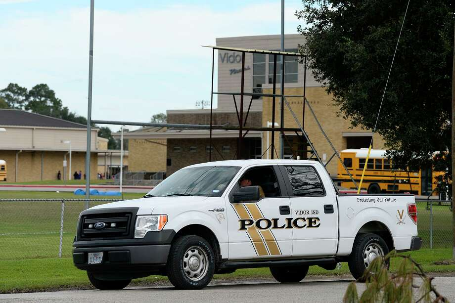 A Vidor ISD Police officer leaves Vidor High School on Friday afternoon. The school was placed on lockdown after rumors circulated that a student had a gun, but no gun was found.   Photo taken Friday 10/26/18  Ryan Pelham/The Enterprise Photo: Ryan Pelham / The Enterprise / ©2018 The Beaumont Enterprise