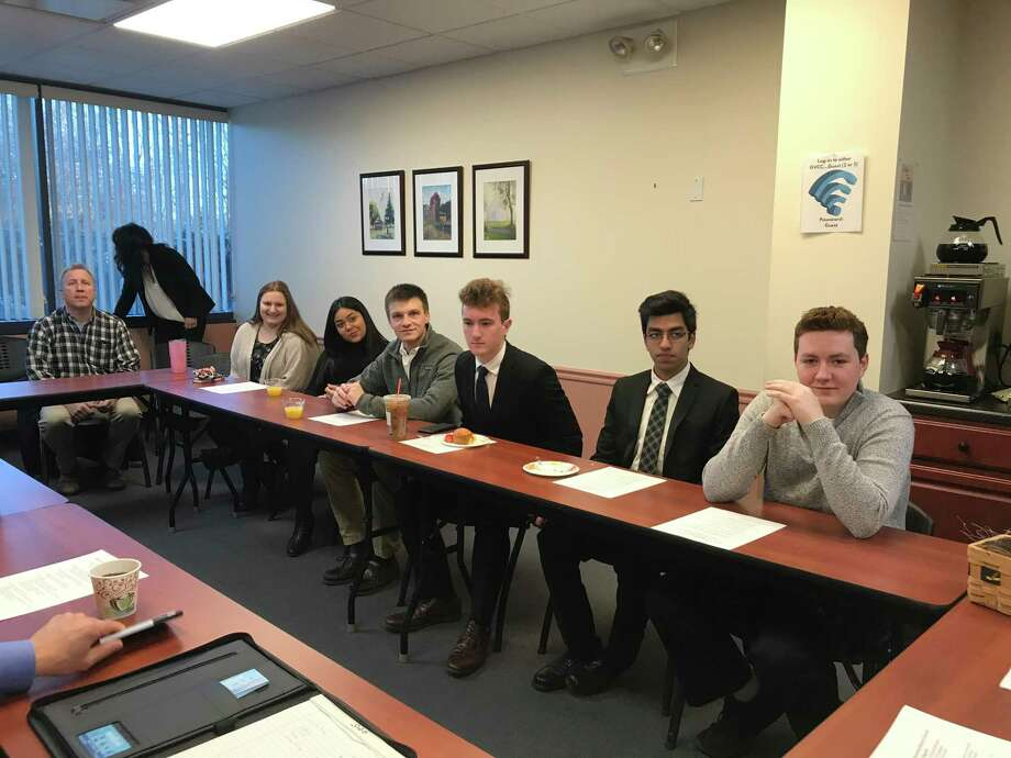 Shelton High School seniors Allison Dapp, Dajanise Martinez, Spencer Keith, James Baklik, Siggharth Jain and Chris MacDonald recently shared their internship experiences. Photo: Contributed Photo / Connecticut Post