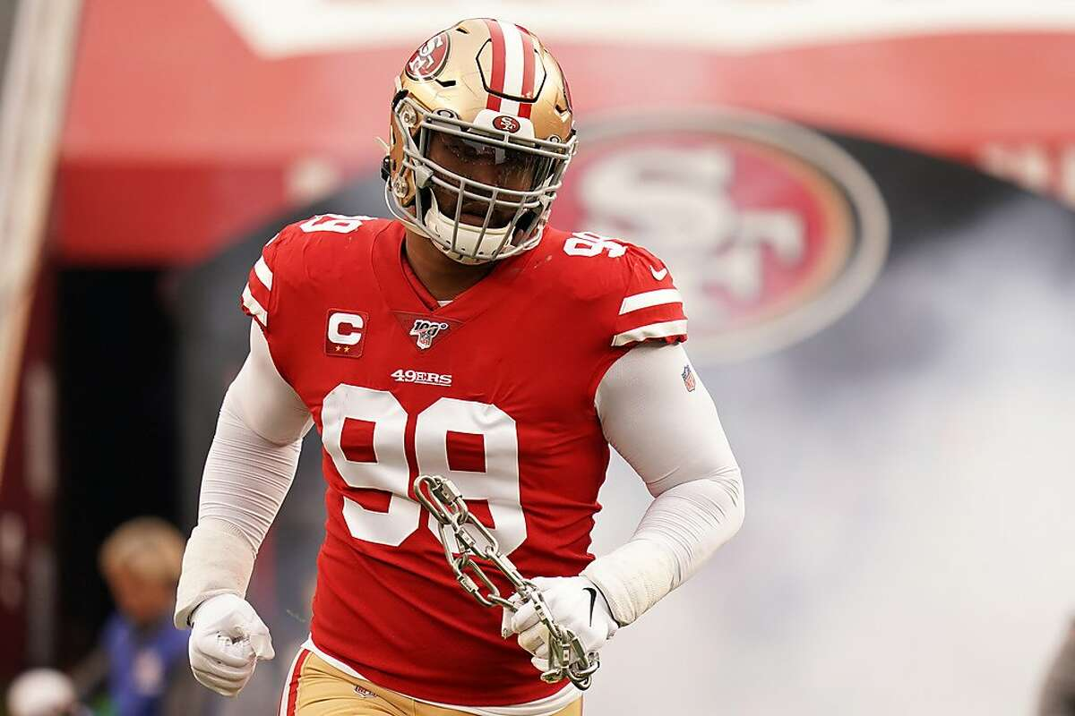 DeForest Buckner #99 of the San Francisco 49ers runs onto the field prior to the start of the NFC Championship game against the Green Bay Packers at Levi's Stadium on January 19, 2020 in Santa Clara, California. (Photo by Thearon W. Henderson/Getty Images)