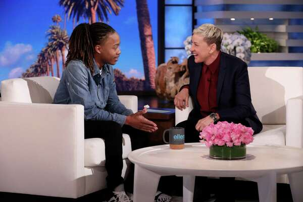 Former Barbers Hill ISD senior DeAndre Arnold meets with Ellen Degeneres on her daytime show. The senior was told that if he did not cut his dreadlocks, he would be suspended and would not be able to walk at his high school graduation.