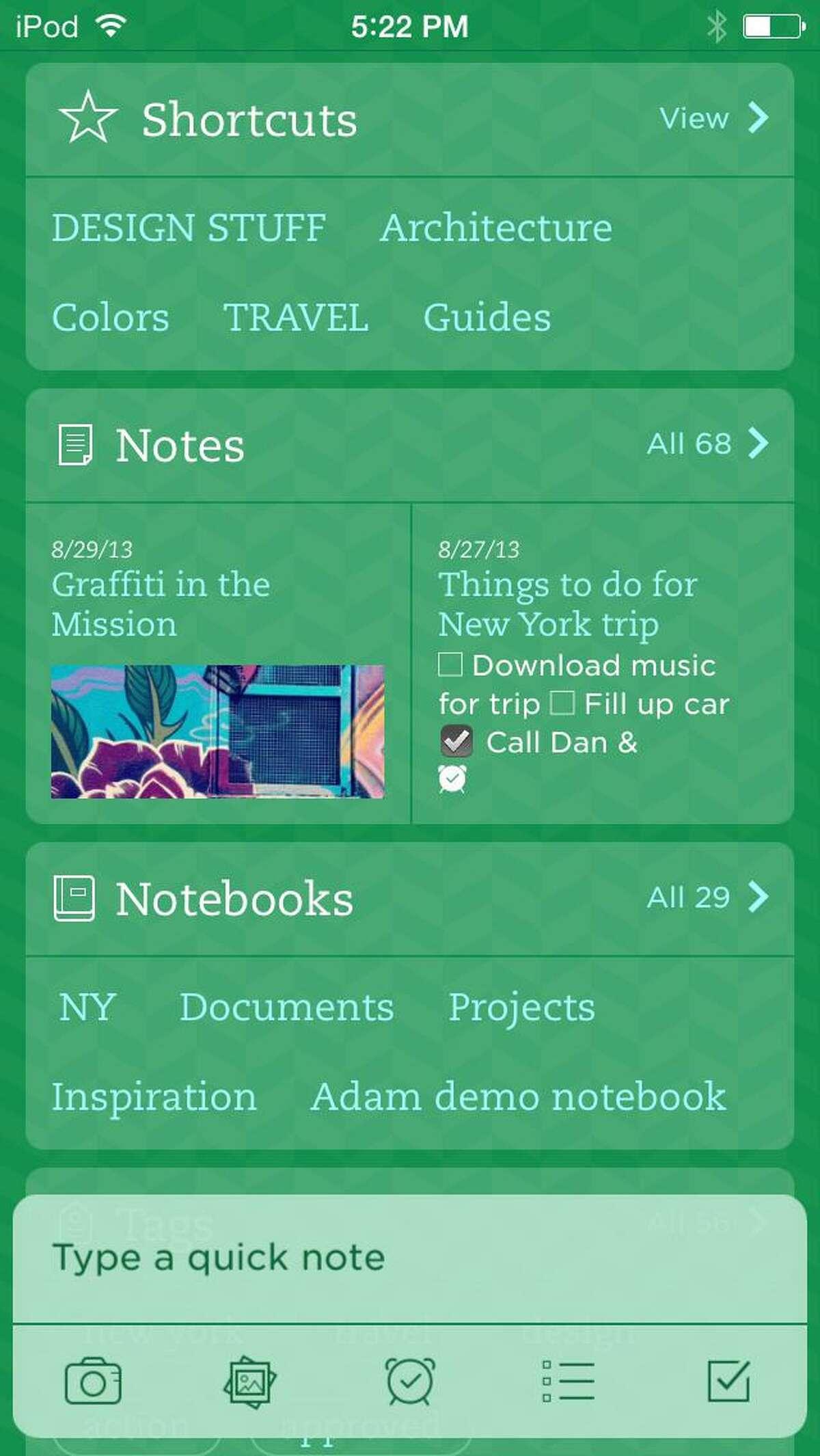 Evernote app screen