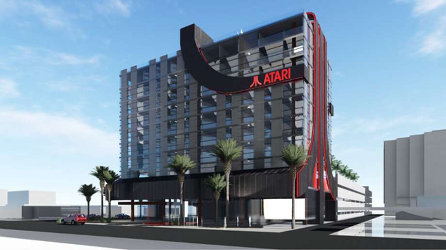 Renderings show the exterior of the recently announced Atari Hotels, which is expected to break ground in Phoenix, Ariz. in 2020. Photo: Courtesy Atari Hotels