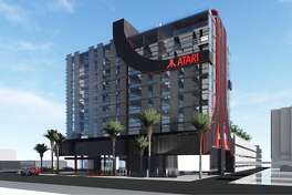 Renderings show the exterior of the recently announced Atari Hotels, which is expected to break ground in Phoenix, Ariz. in 2020.