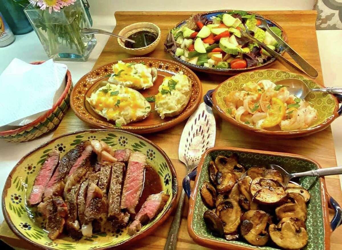 Steak night at Jon Hinojosa's house often has twice-baked potatoes and sauteed mushrooms.