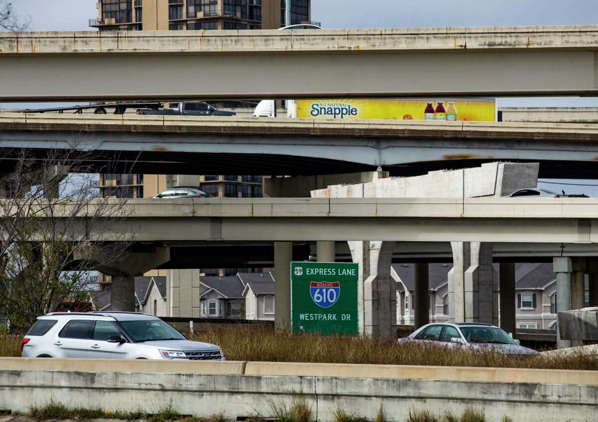 Work continues within the Loop 610 and Interstate 69 interchange on Jan. 29, 2020, in Houston.