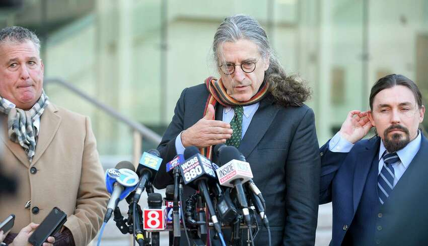 Attorney Norman Pattis, lead defense attorney for Fotis Dulos, speaks to the media outside state Superior Court in Stamford on Wednesday, following a bond hearing for his client. Standing with Pattis, from left, Bondsman Ira Judelson and Attorney Kevin Smith.