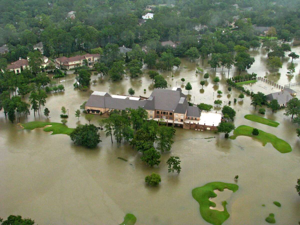 The Raveneaux Country Club and golf course after Hurricane Harvey in 2017.