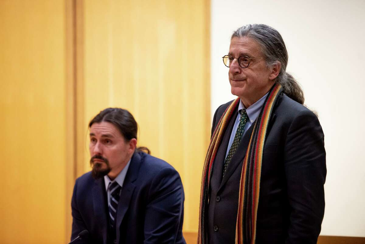 Fotis Dulos attorneys Norm Pattis (right) and Kevin Smith appear in court for a bond hearing regarding Dulos, who is in critical condition in a New York hospital after a suicide attempt, at the State of Connecticut Superior Court Wednesday, Jan. 29, 2020, in Stamford. Judge Gary White ordered three new re-arrest warrants for Fotis Dulos, who is charged with killing his estranged wife but is now in ?'dire condition?