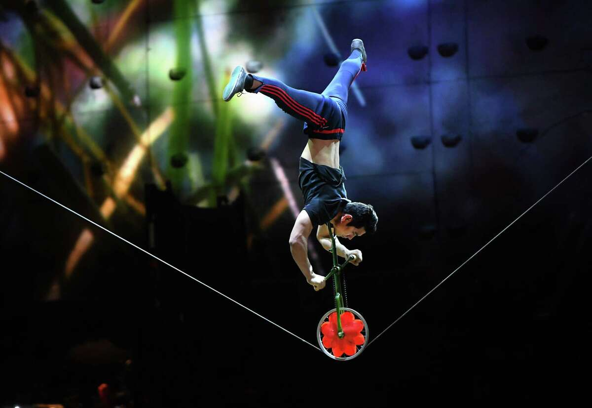 A Cirque du Soleil artist prepares to perform OVO at the Times Union Center on Wednesday, Jan. 29, 2020 in Albany, N.Y. (Lori Van Buren/Times Union)