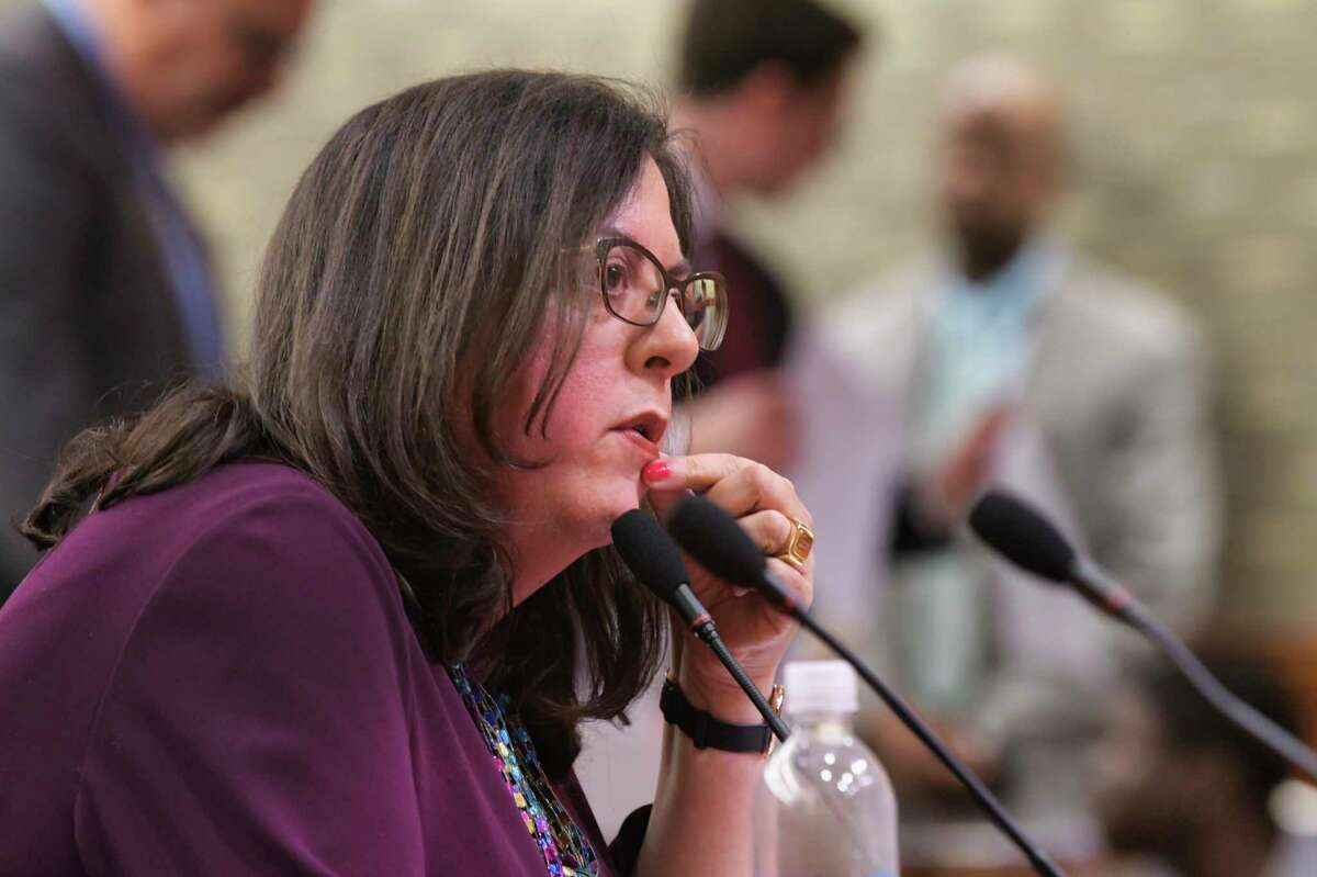 Linda Lacewell, superintendent, New York State Department of Financial Services, testifies at the State Legislature Joint Budget Hearing on health and Medicaid on Wednesday, Jan. 29, 2020, in Albany, N.Y. (Paul Buckowski/Times Union)