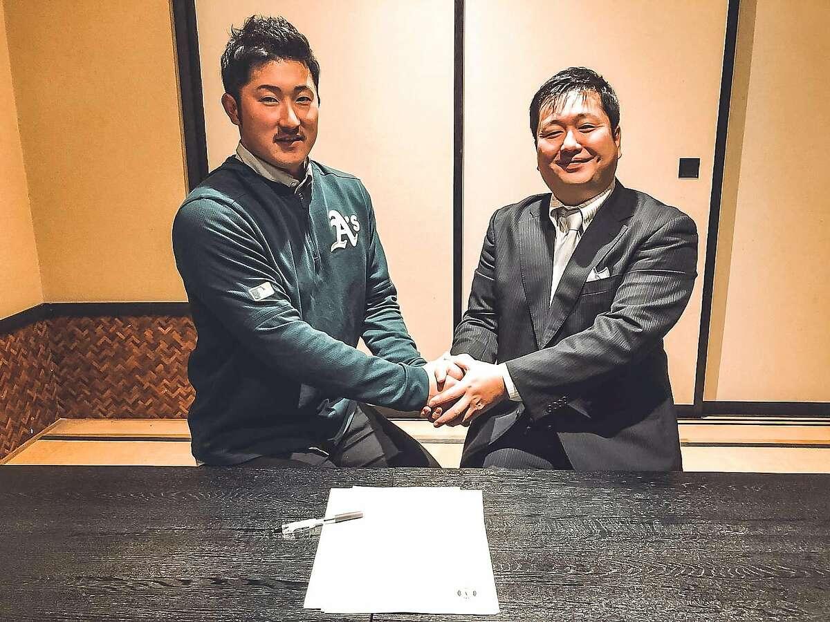 The Oakland Athletics signed pitcher Shohei Tomioka to a minor-league contract, the club announced Jan. 29, 2020. The A's scout who signed Tomioka was Toshiyuki Tomizuka.
