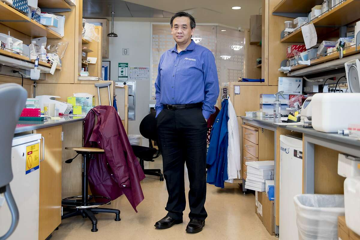 Dr. Charles Chiu poses for a portrait in his lab at the UCSF Mission Bay campus in San Francisco, Calif. Wednesday, January 29, 2020. Chiu, an associate professor and director of a center that studies emerging pathogens, has partnered with San Francisco company Mammoth Biosciences to create a simple test that could diagnose the new coronavirus within several hours.