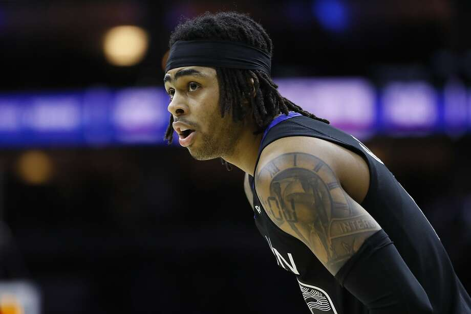 Golden State Warriors' D'Angelo Russell plays during an NBA basketball game against the Philadelphia 76ers, Tuesday, Jan. 28, 2020, in Philadelphia. (AP Photo/Matt Slocum) Photo: Matt Slocum, Associated Press