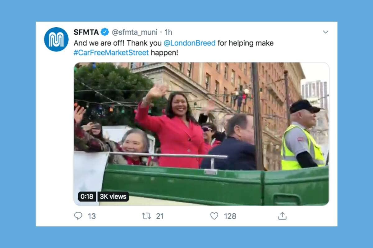 Many took to social media to celebrate the car ban, posting images and videos showing the street dominated by bicycles. The hashtags #CarFreeMarketStreet and #BetterMarketStreet were both trending on Twitter.