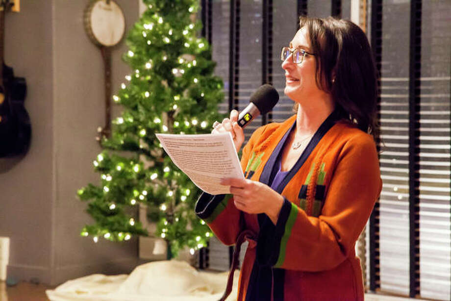 Sara McGibany, Executive Director of Alton Main Street, speaking at the organization's annual appreciation dinner earlier this month. Photo: Jeanie Stephens | The Telegraph