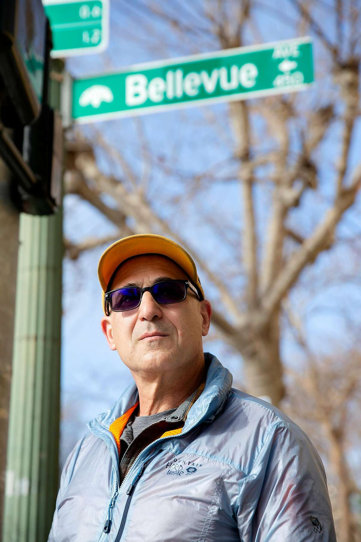 Randy Lyman stands outside of Perch, a local coffee shop he often frequents in Oakland, Calif. on Monday, January 27, 2020. Just across the street is the corner where Lyman was robbed at gun point just after midnight on January 18 at the corner of Grand Avenue and Bellevue Avenue in Oakland. After being punched in the face and held at gunpoint the robbers took both his wallet and phone before leaving in a nearby car. Lyman's robbery was one of many that have been occurring in Oakland involving getaway cars.