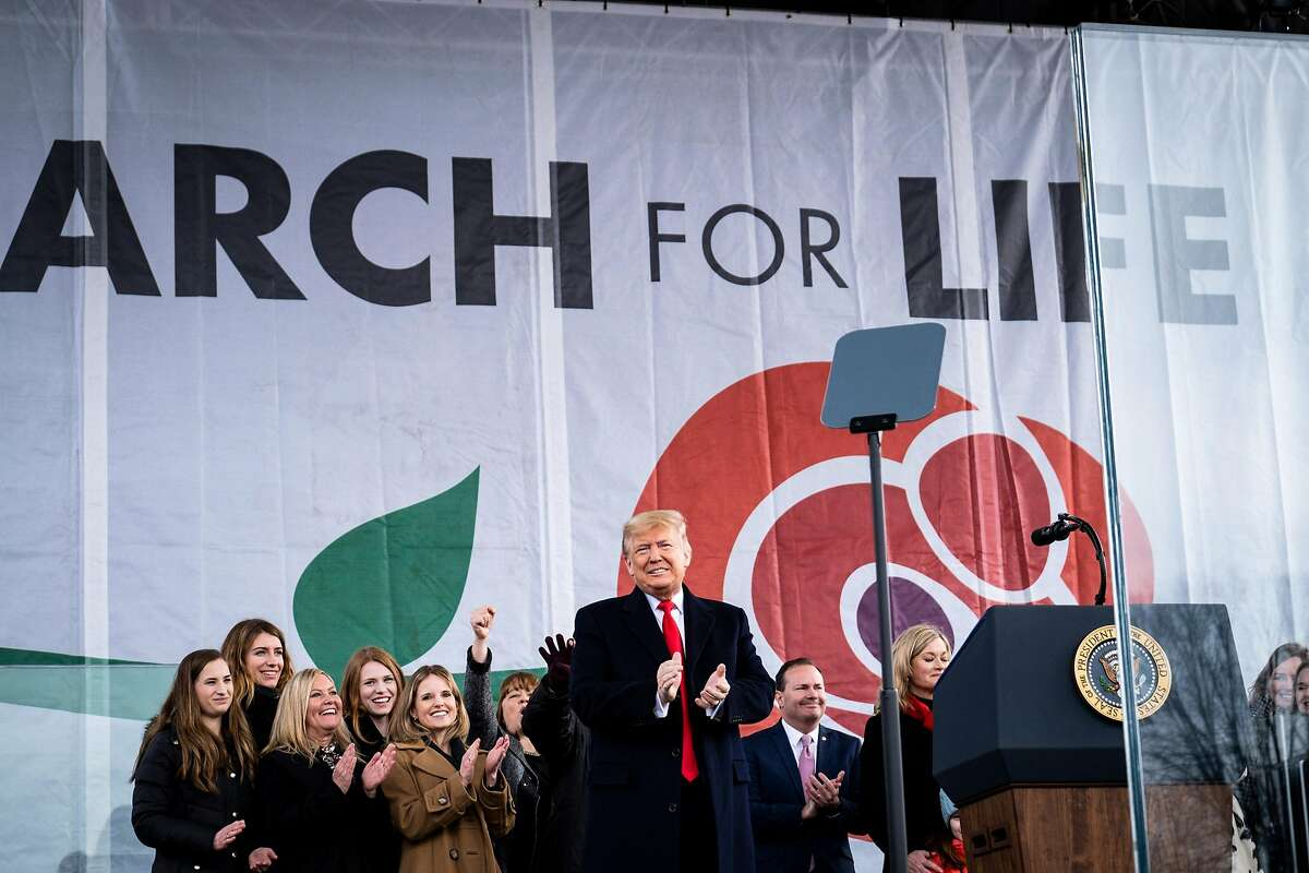 President Donald Trump addresses the March for Life rally in Washington on Friday, Jan. 24, 2020, becoming the first sitting president to attend the event. The president's lawyers will try to poke holes in the prosecution's case to buttress Republican senators already inclined to vote for the president without losing the handful of relative moderates. (Pete Marovich/The New York Times)