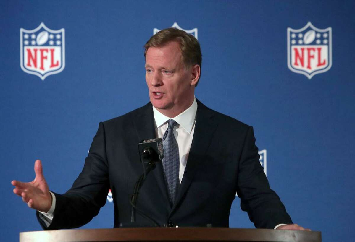NFL commissioner Roger Goodell speaks during a news conference after the football league meeting in Irving, Texas, Wednesday, Dec. 12, 2018.