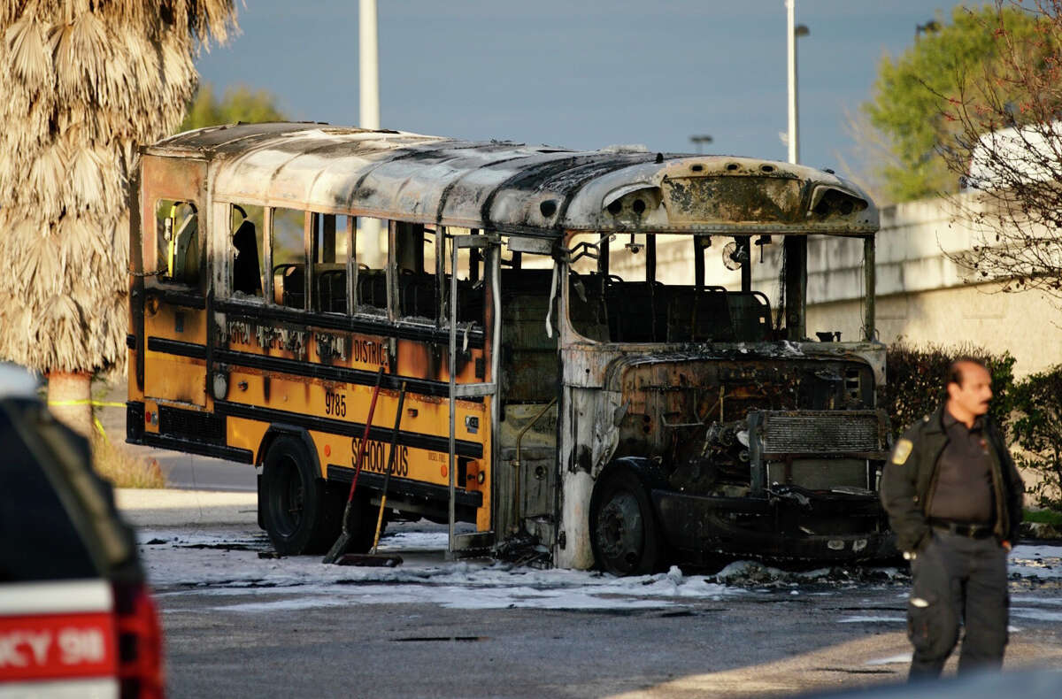 No injuries were reported after an HISD school bus carrying one student caught fire near the intersection of W. Bellfort and S. Post Oak streets, Jan. 29, 2020, in Houston. After the bus driver noticed mechanical problems and saw smoke, they pulled the bus over and removed the student and two attendants on board the bus, according to HPD. The bus then caught fire that was extinguished by the Houston Fire Department.