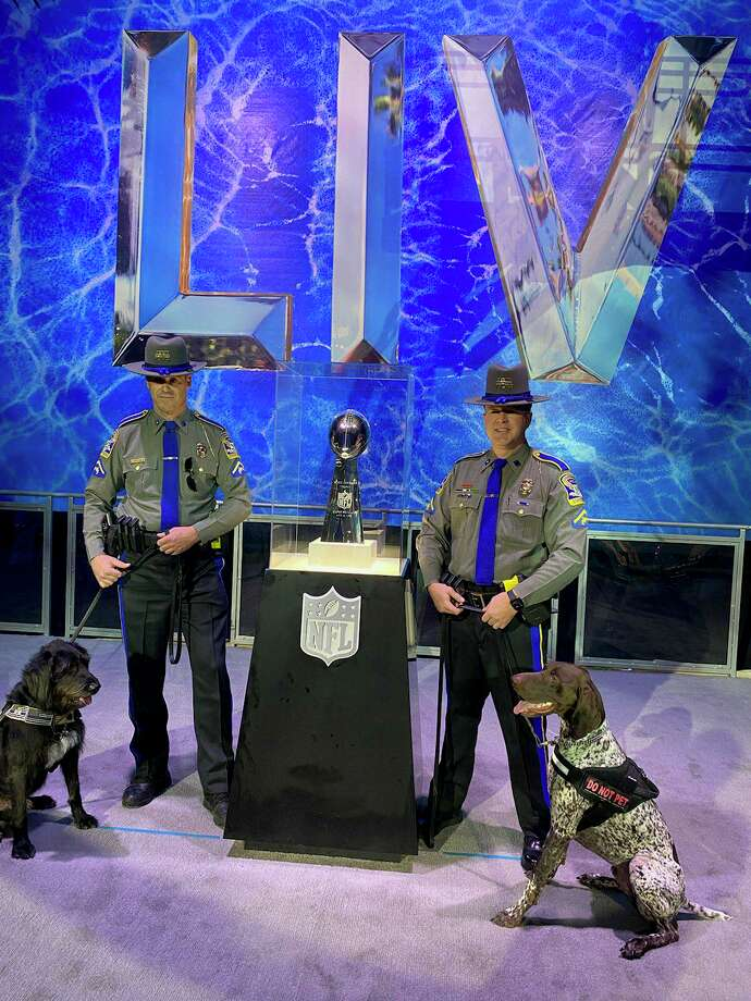 Connecticut police dogs and their handlers will provide security at the Super Bowl this year. Photo: Contributed Photo / Connecticut State Police