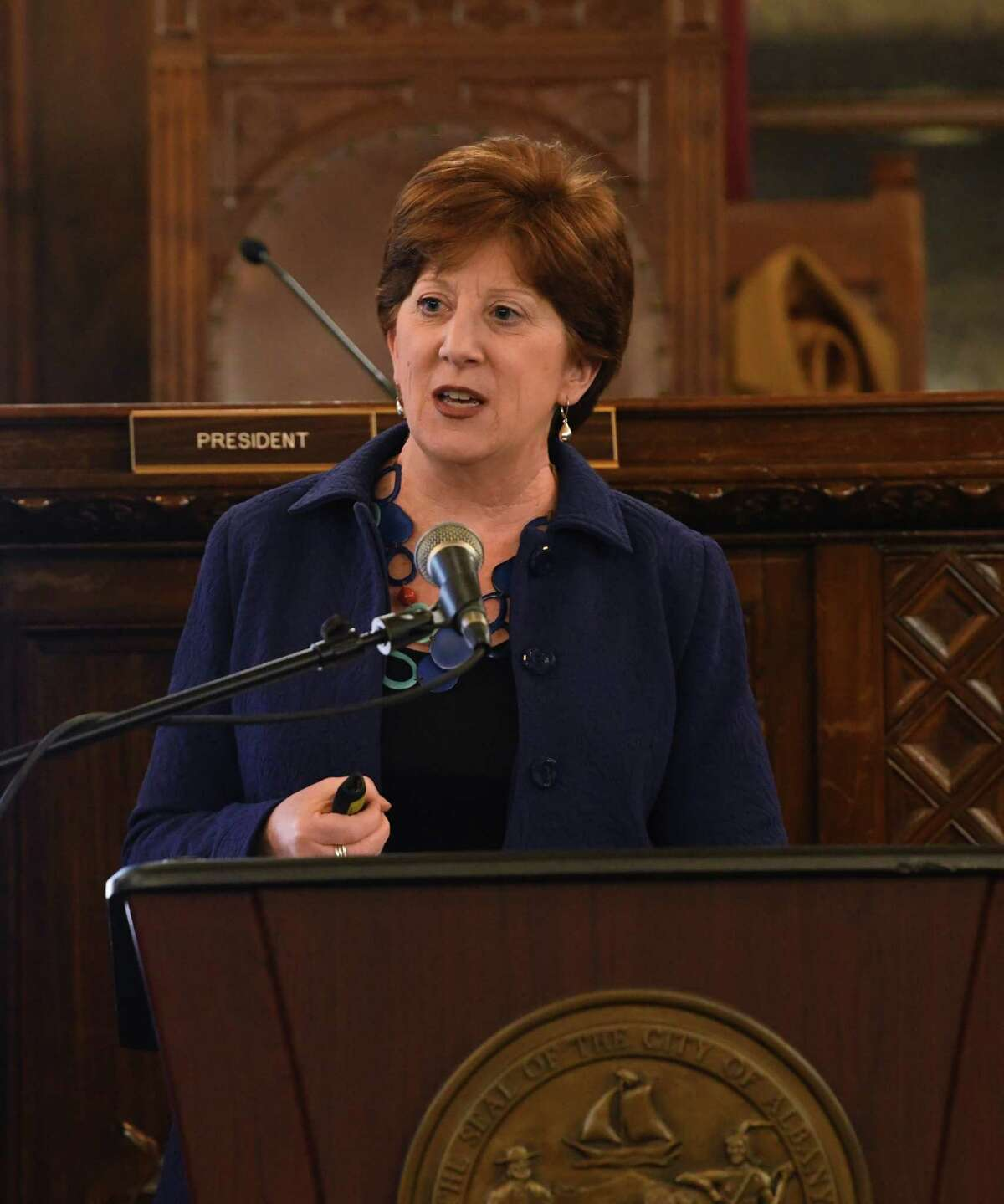 Albany Mayor Kathy Sheehan presents her State of the City Address to the Albany Common Council at Albany City Hall on Wednesday, Jan. 29, 2020 in Albany, N.Y. (Lori Van Buren/Times Union)