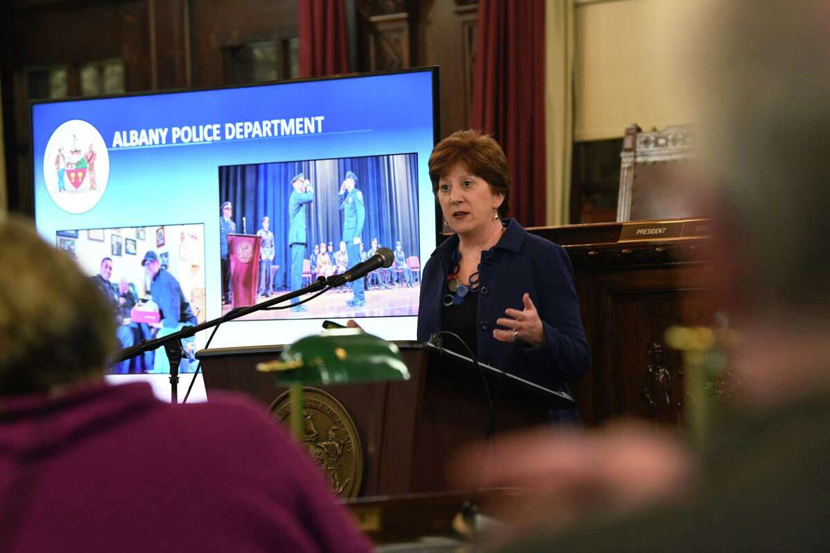 Albany Mayor Kathy Sheehan mentions the Albany Police Department as she presents her State of the City Address to the Albany Common Council at Albany City Hall on Wednesday, Jan. 29, 2020 in Albany, N.Y. (Lori Van Buren/Times Union)