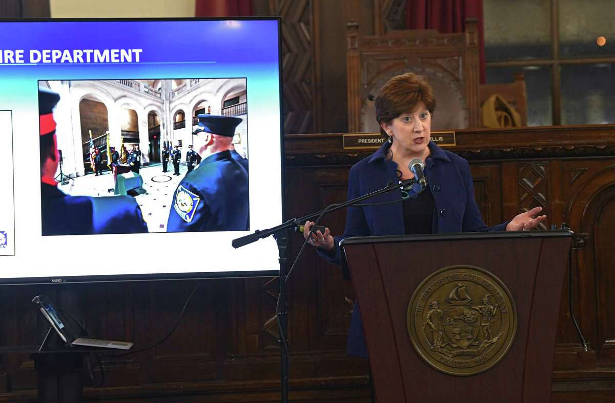 Albany Mayor Kathy Sheehan mentions the Albany Fire Department as she presents her State of the City Address to the Albany Common Council at Albany City Hall on Wednesday, Jan. 29, 2020 in Albany, N.Y. (Lori Van Buren/Times Union)