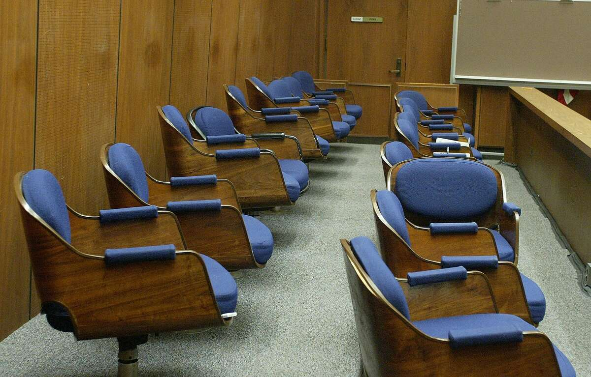 The jury box where jurors in the murder trial of music producer Phil Spector sit is shown in this photograph taken with the court's permission in Los Angeles Superior Court in Los Angeles, Friday, May 4, 2007. Spector is on trial for the 2003 shooting death of actress Lana Clarkson. (AP Photo/Fred Prouser, Pool)