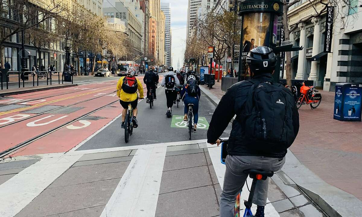 A busy two-mile stretch of San Francisco's Market Street became mostly car-free on Jan. 29, 2020.