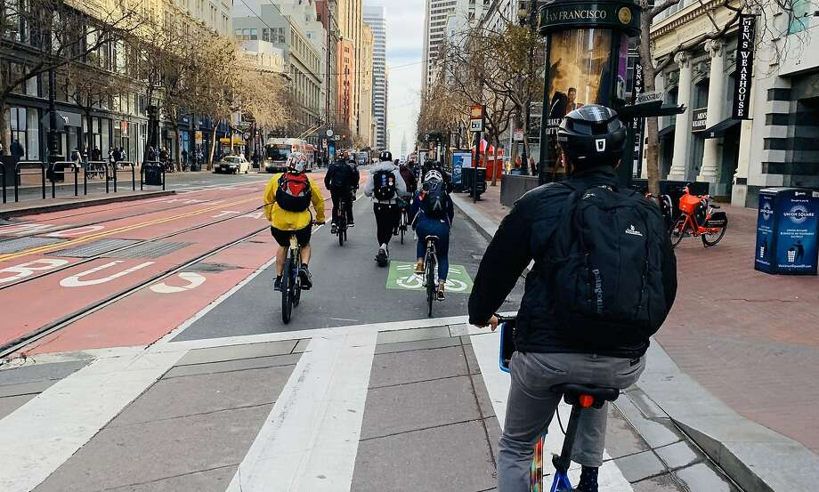 A busy two-mile stretch of San Francisco's Market Street became mostly car-free on Jan. 29, 2020. Photo: Matt Vespa, Twitter @Vespa
